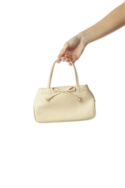 Beige Faux-Leather Mini Tote