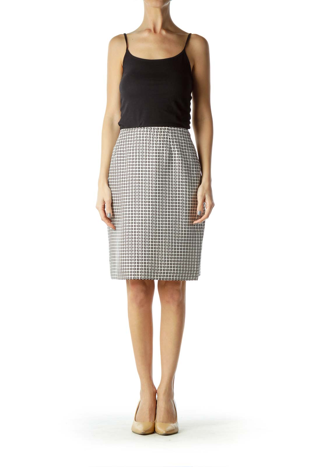 Black White Geometric Print Silk Skirt