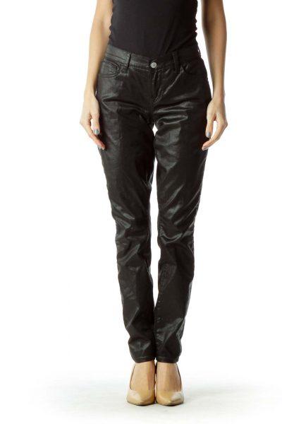 Black Metallic Skinny Jeans