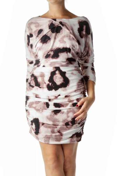 Purple Watercolor Print Ruched Sheath Dress