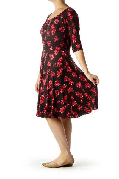 Black Red Floral Print Dress