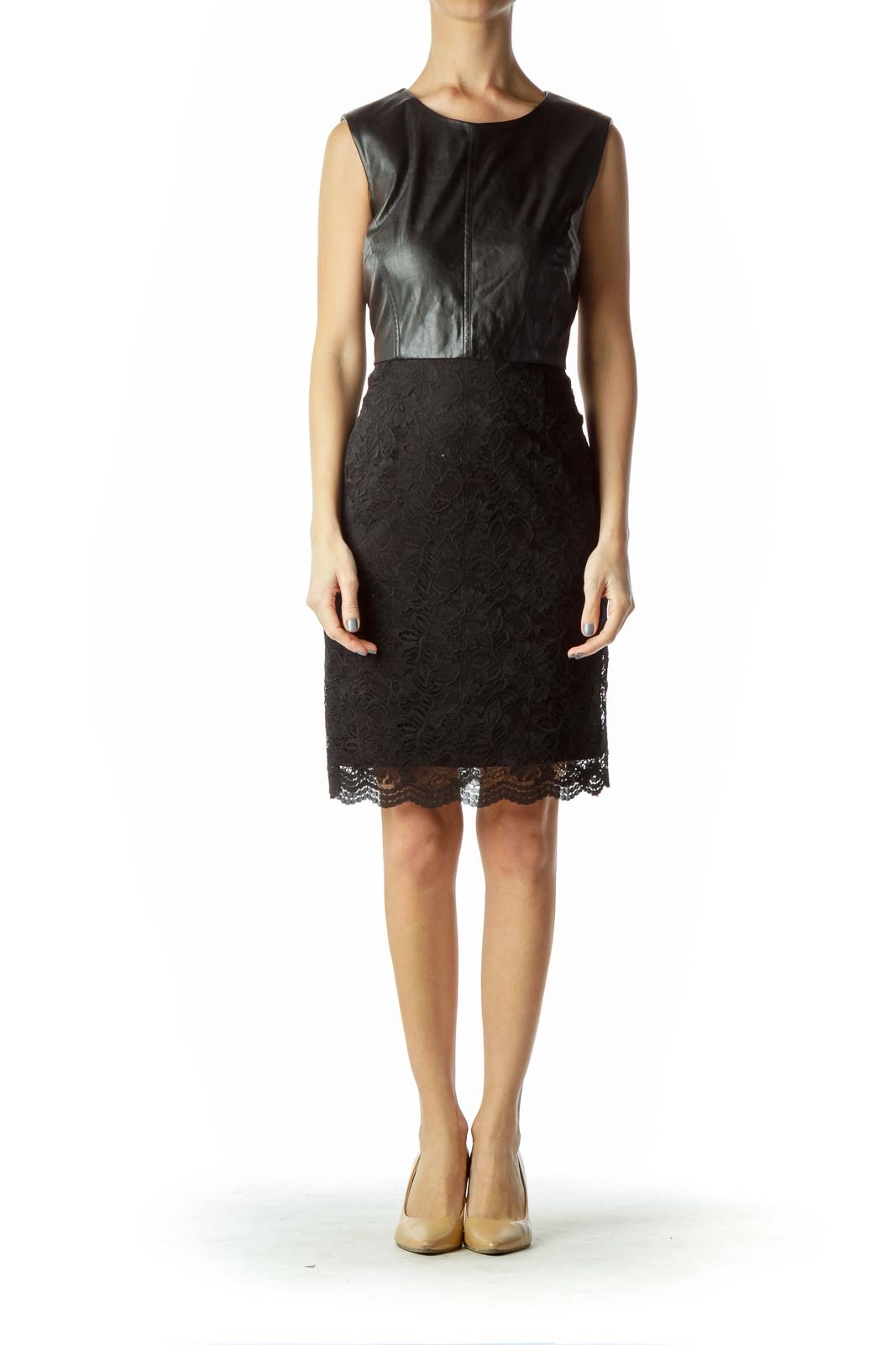Black Lace Faux Leather Sleeveless Dress