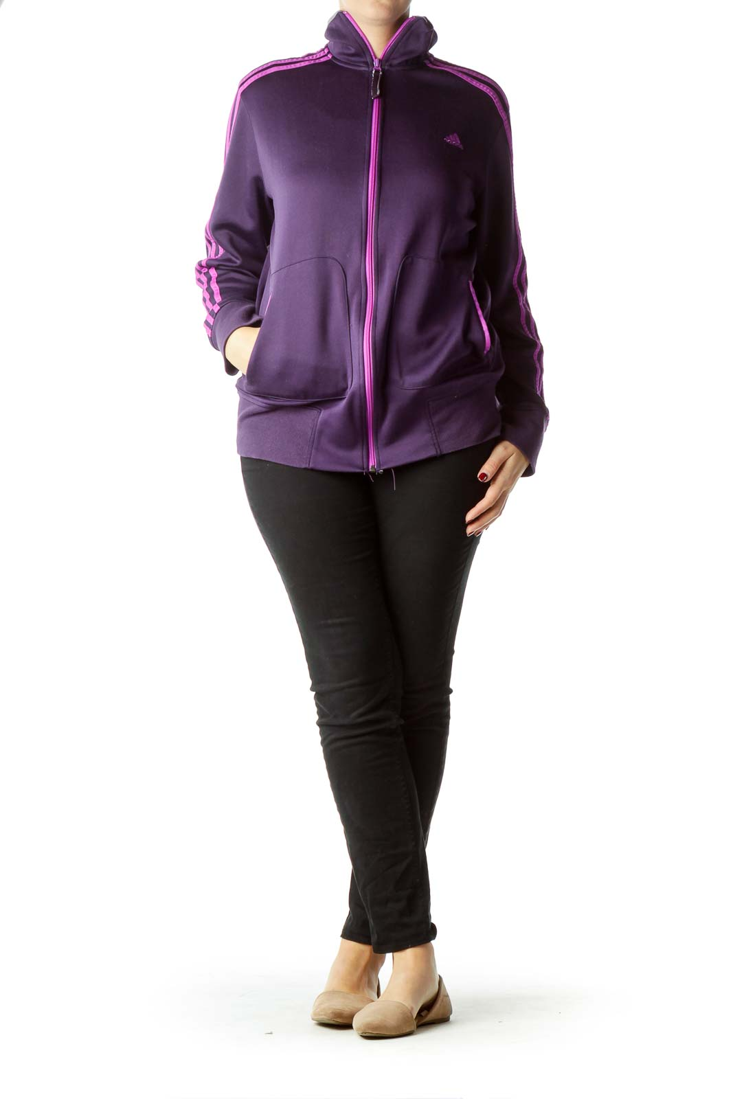 Purple Full-Zip Climalite Fleece Top
