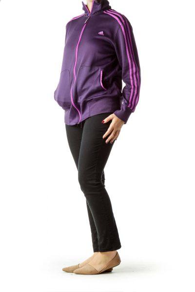 Purple Full-Zip Climalite Fleece Top