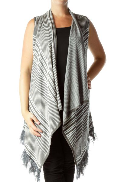 Gray Stripe Knit Vest with Fringe