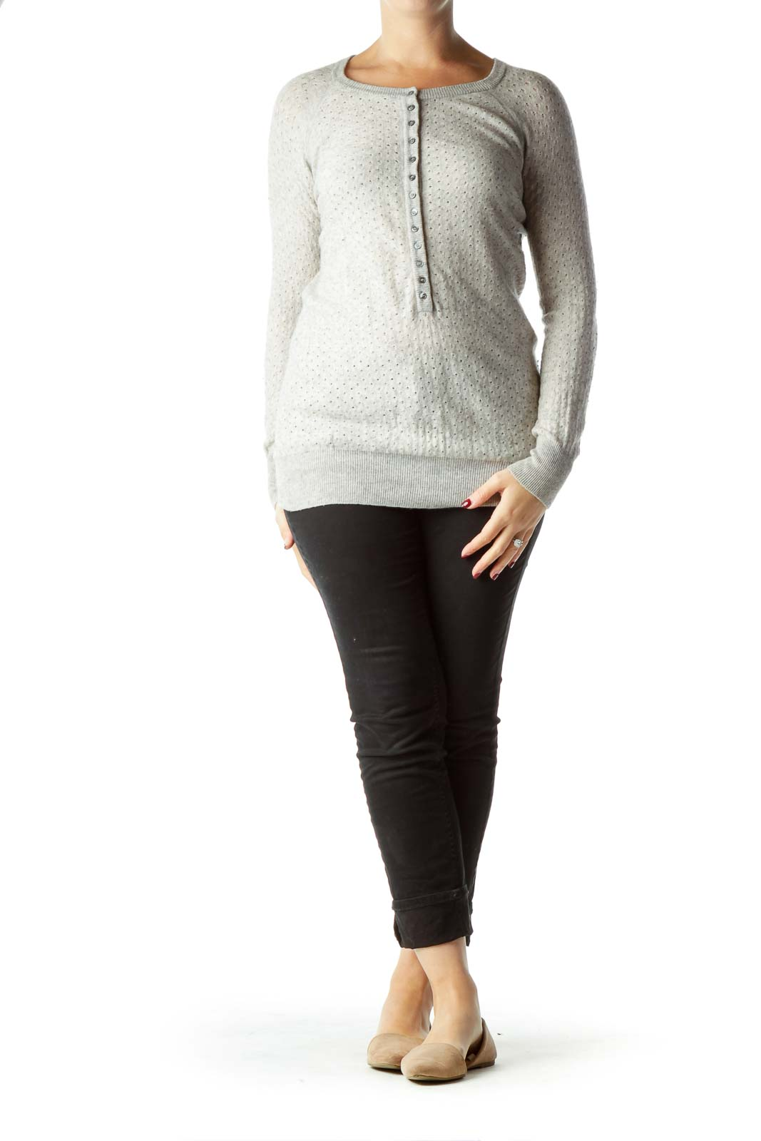 Gray Merino and Cashmere Knit Top with Buttons