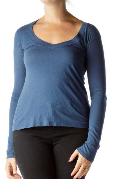 Blue Long Sleeve T-Shirt with Hawaii Print