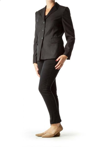 Black Pinstripe Suit Jacket
