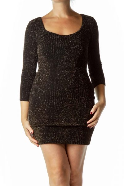 Black Gold Metallic Bodycon Dress