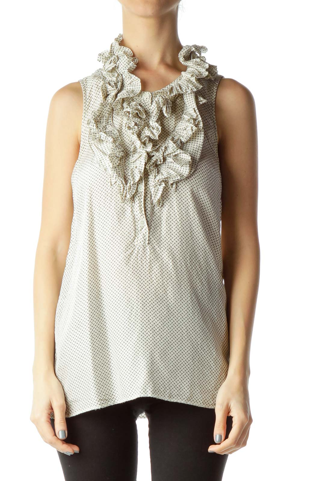 Beige Printed Sleeveless Blouse with Ruffles