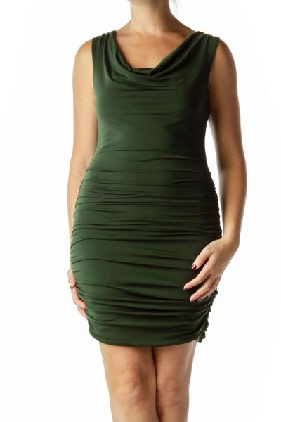 Green Bodycon Dress with Lace Back