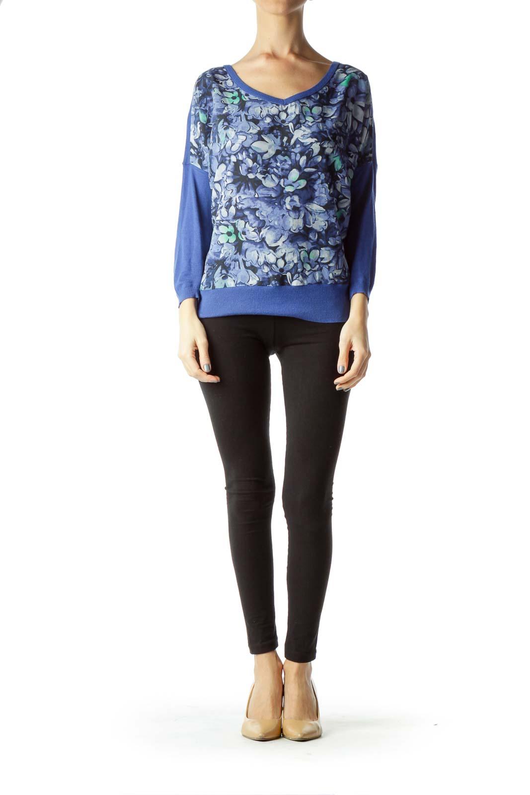 Blue Flower Print Sweater