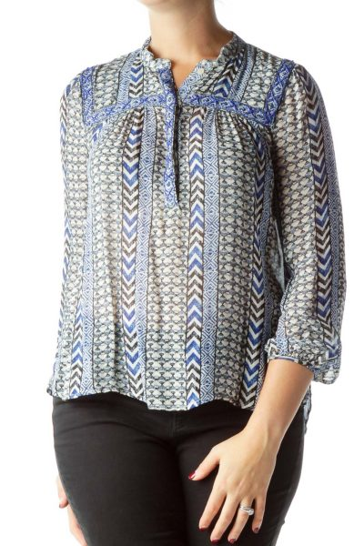 Blue Print Blouse with Beaded Detail