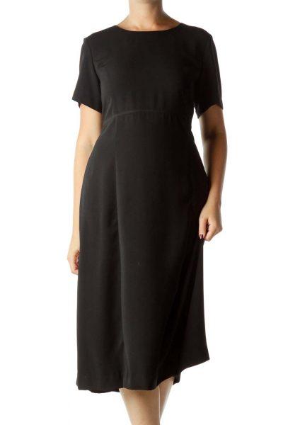 Black Round Neck Midi Dress