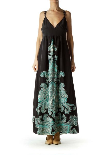 Black Blue Paisley Print Maxi Dress
