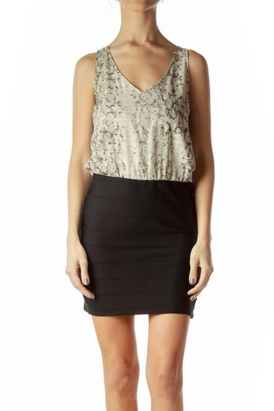 Black Cream Snake Print Top Dress