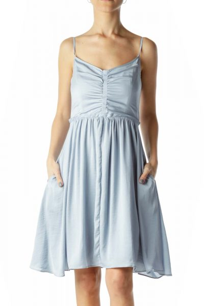 Light Blue Satin Flared Dress