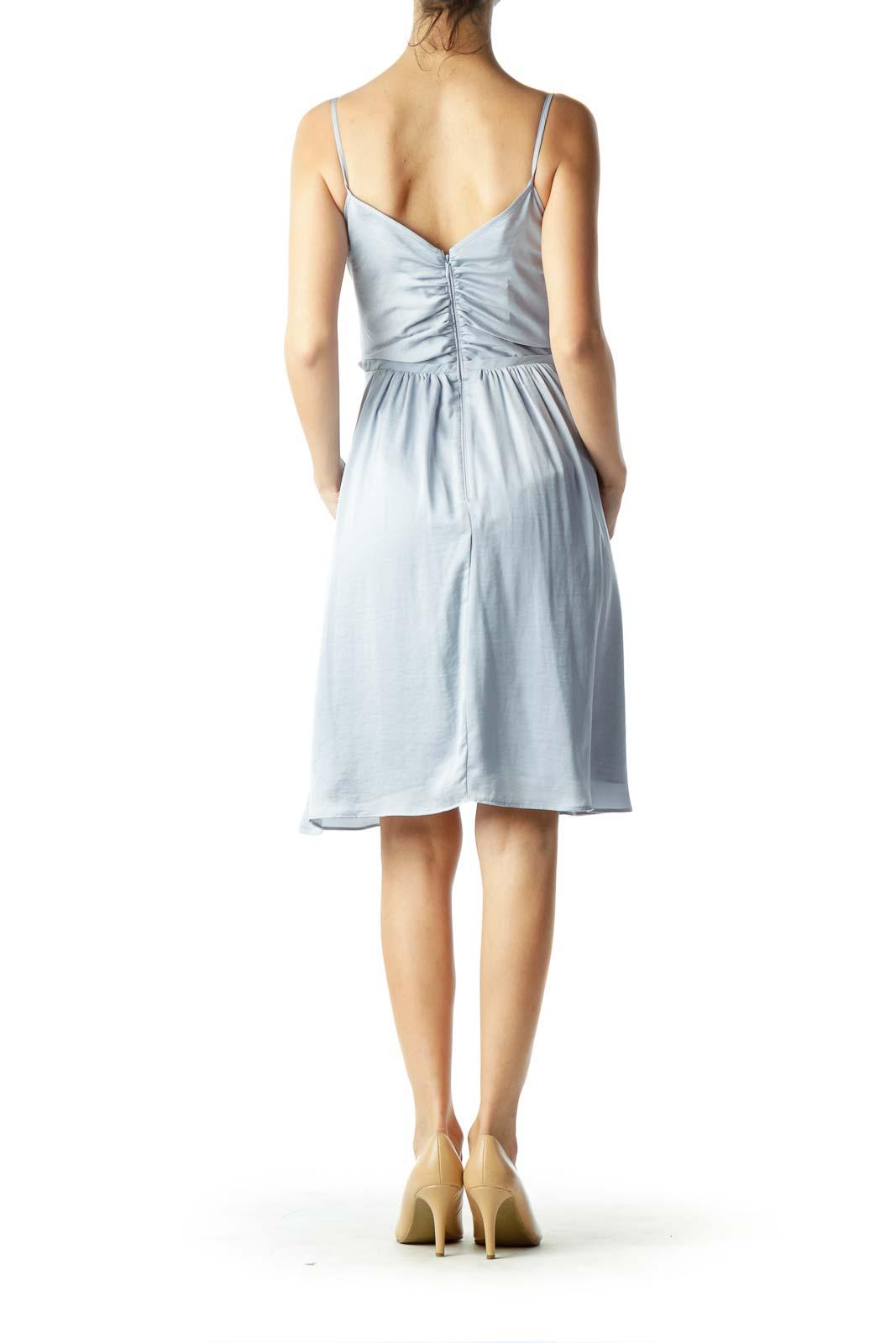 Light Blue Satin Flared Dress