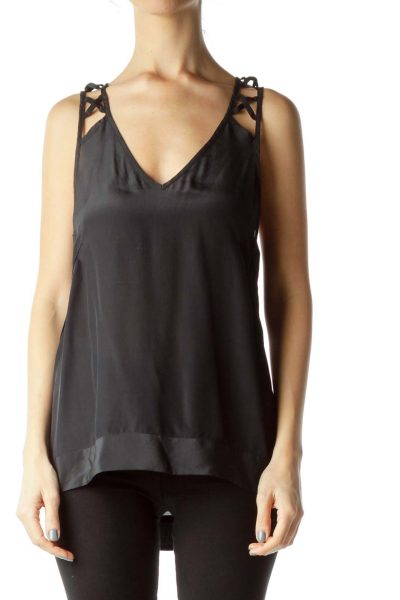 Black Silk Camisole with Back Detail