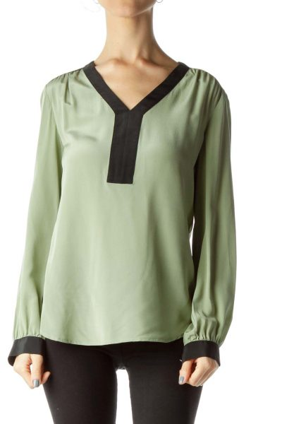 Green Color Block Silk Blouse