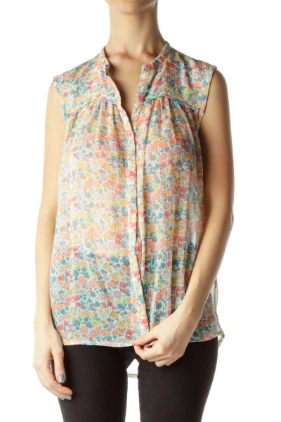 Pink Multicolor Flower Print Sheer Sleeveless Blouse