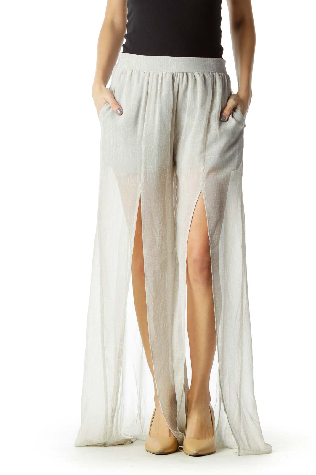 Gray Tonal Print Maxi Skirt with Shorts