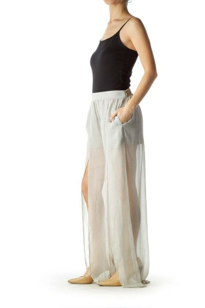 Gray Tonal Print Maxi Skirt with Shorts