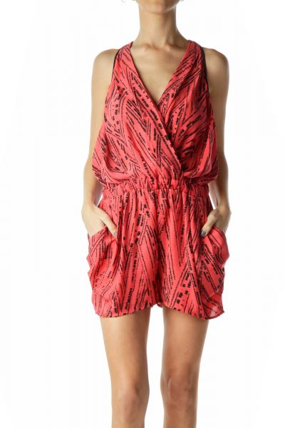 Red Black Print Haltered Racerback Romper