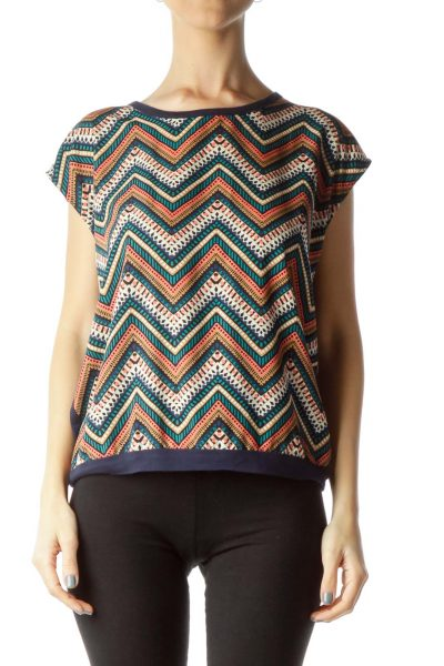 Navy Multicolor Print Sleeveless Top