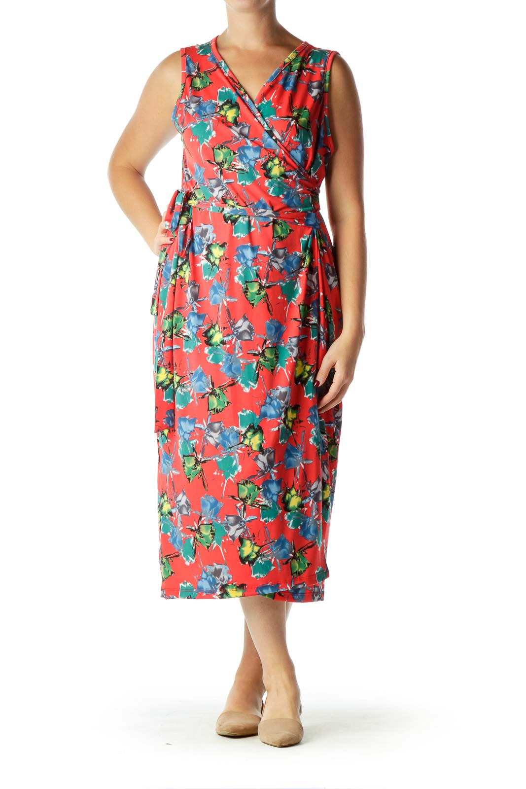 Red Flower Print Wrap Midi Dress