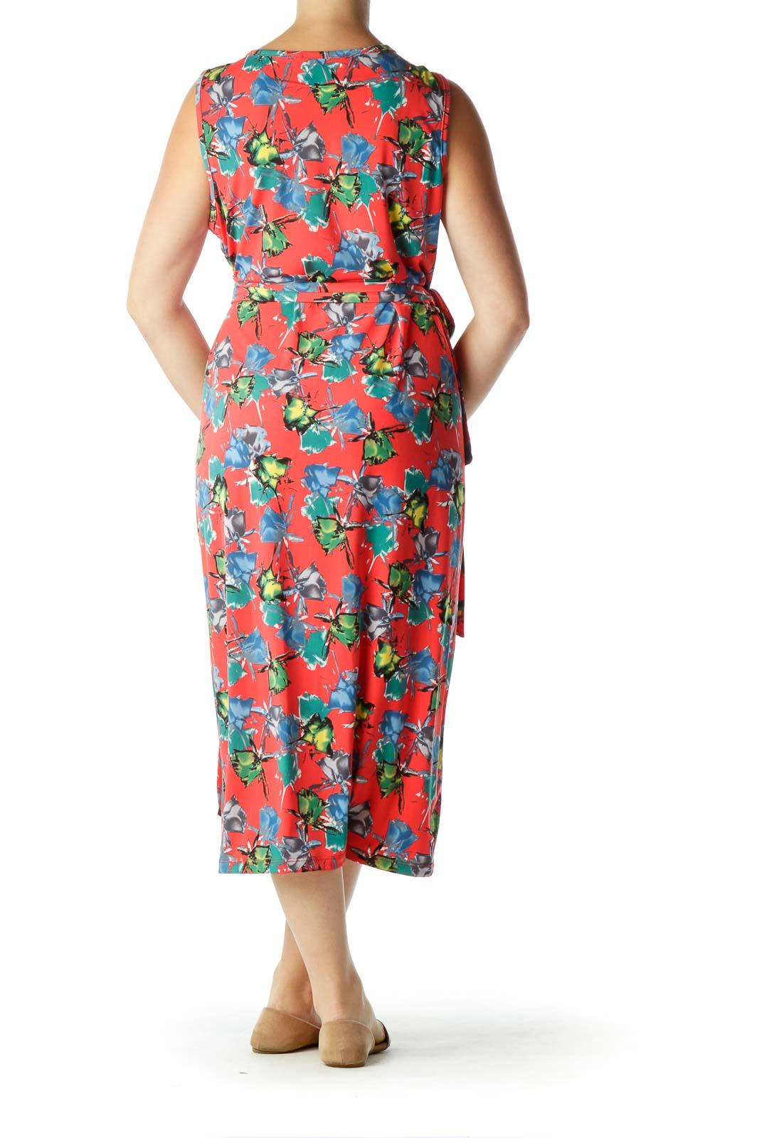 Red Flower Print Wrap Midi Dress