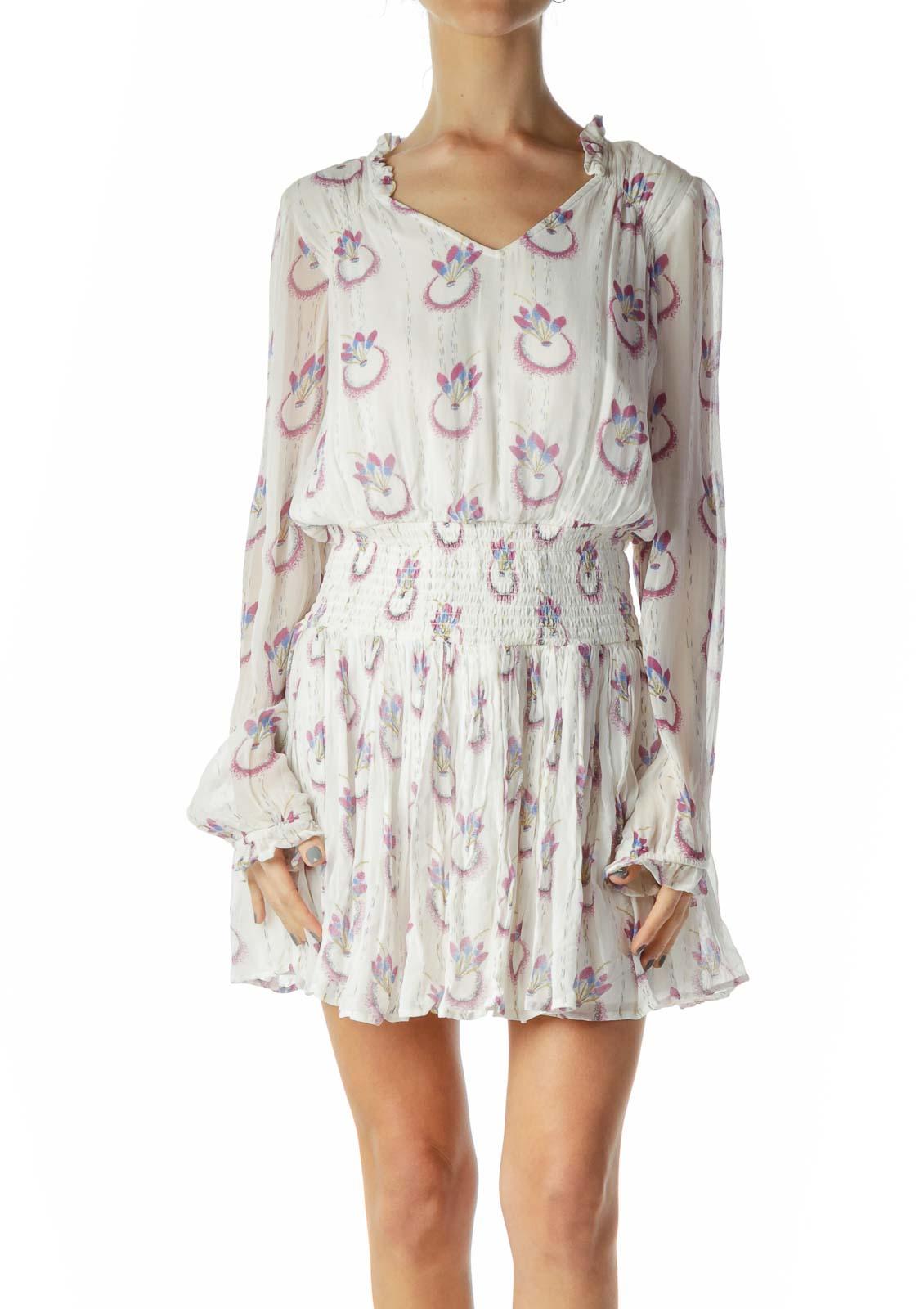 White Print A-Line Mini Dress