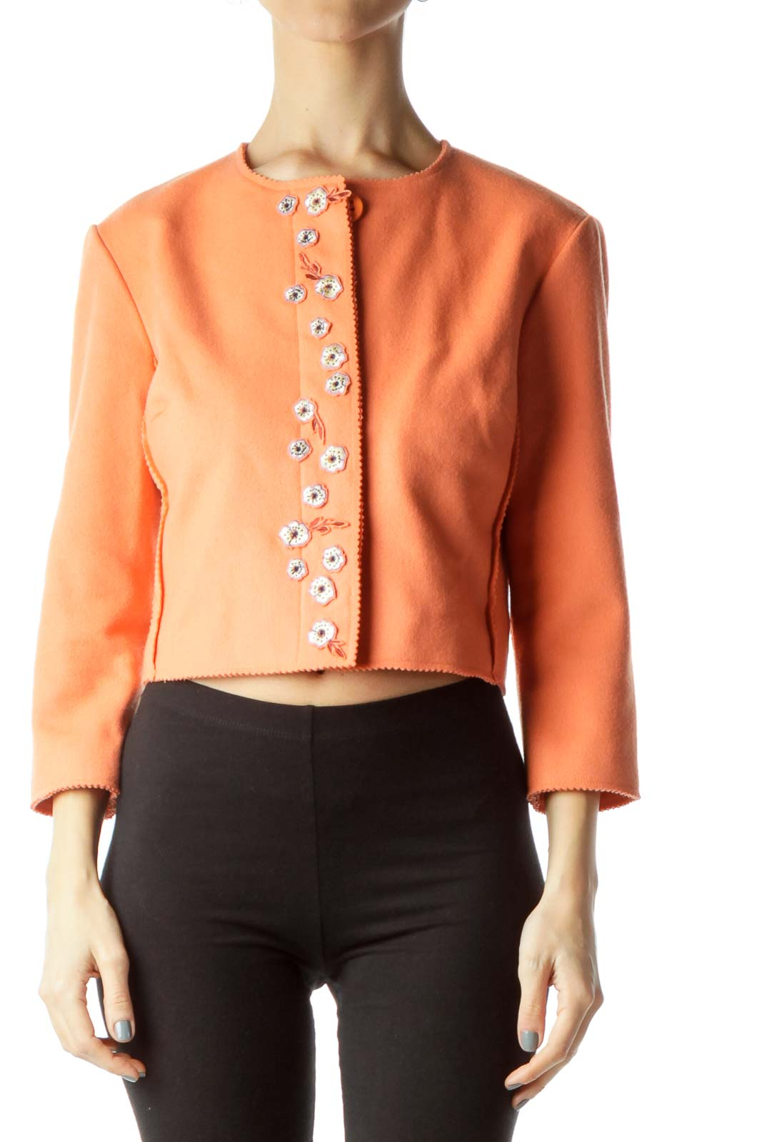 Orange Wool Cashmere Cropped Jacket