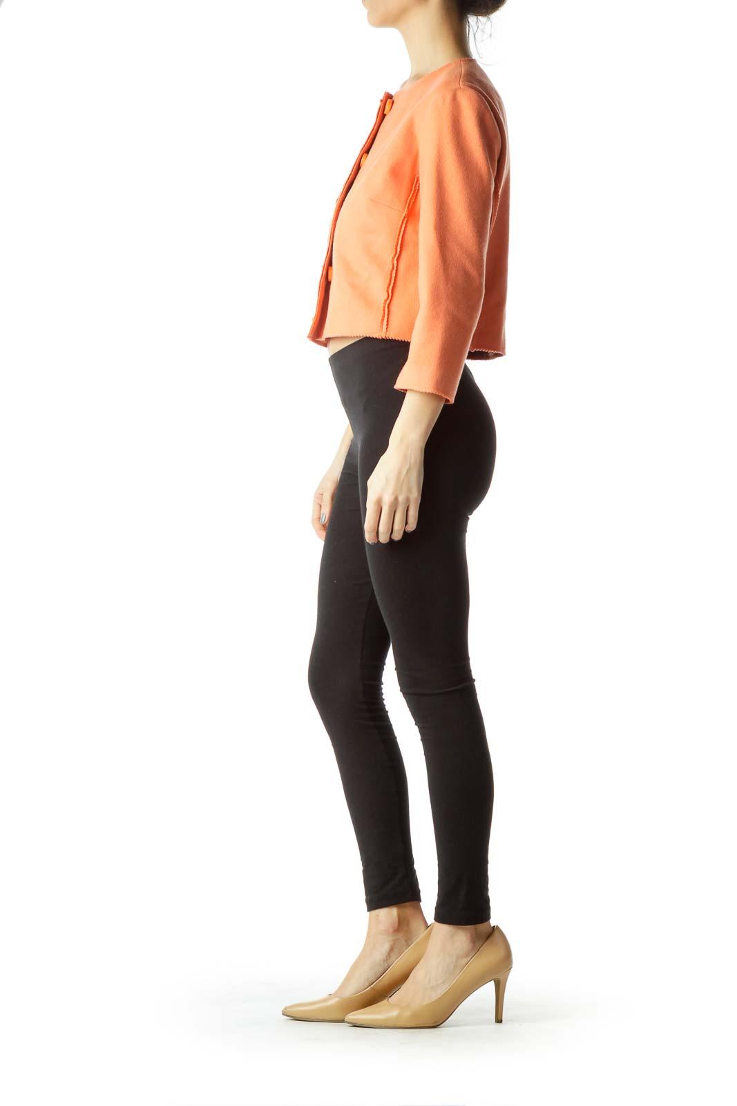 Orange Wool Cashmere Cropped Jacket