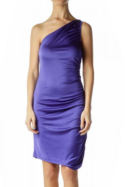 Purple One Shoulder Ruched Bodycon Dress