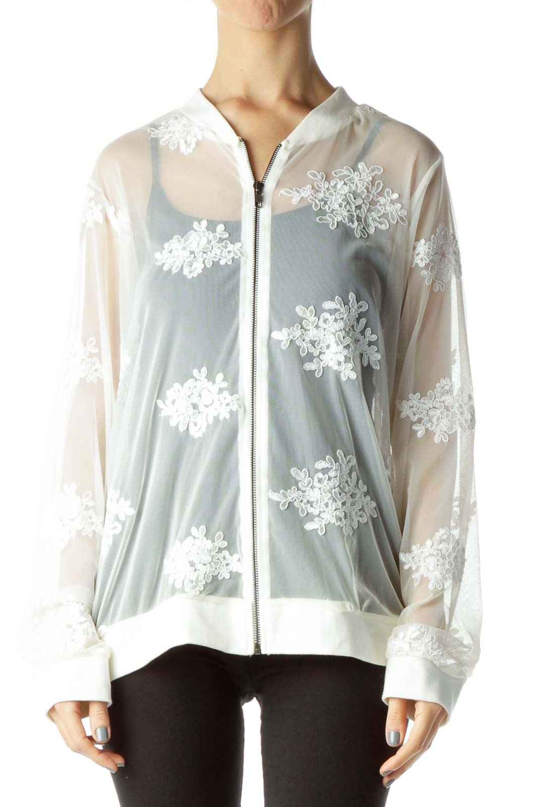 Cream Lace Sheer Bomber Jacket