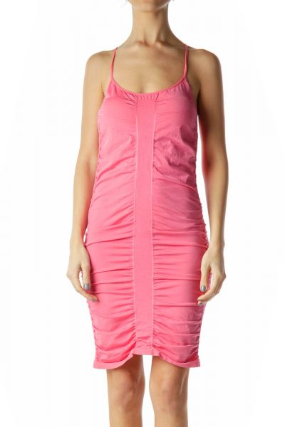 Pink Ruched Bodycon Sport Dress