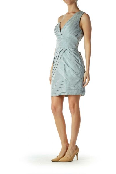 Blue One Shoulder Pleated Cocktail Dress