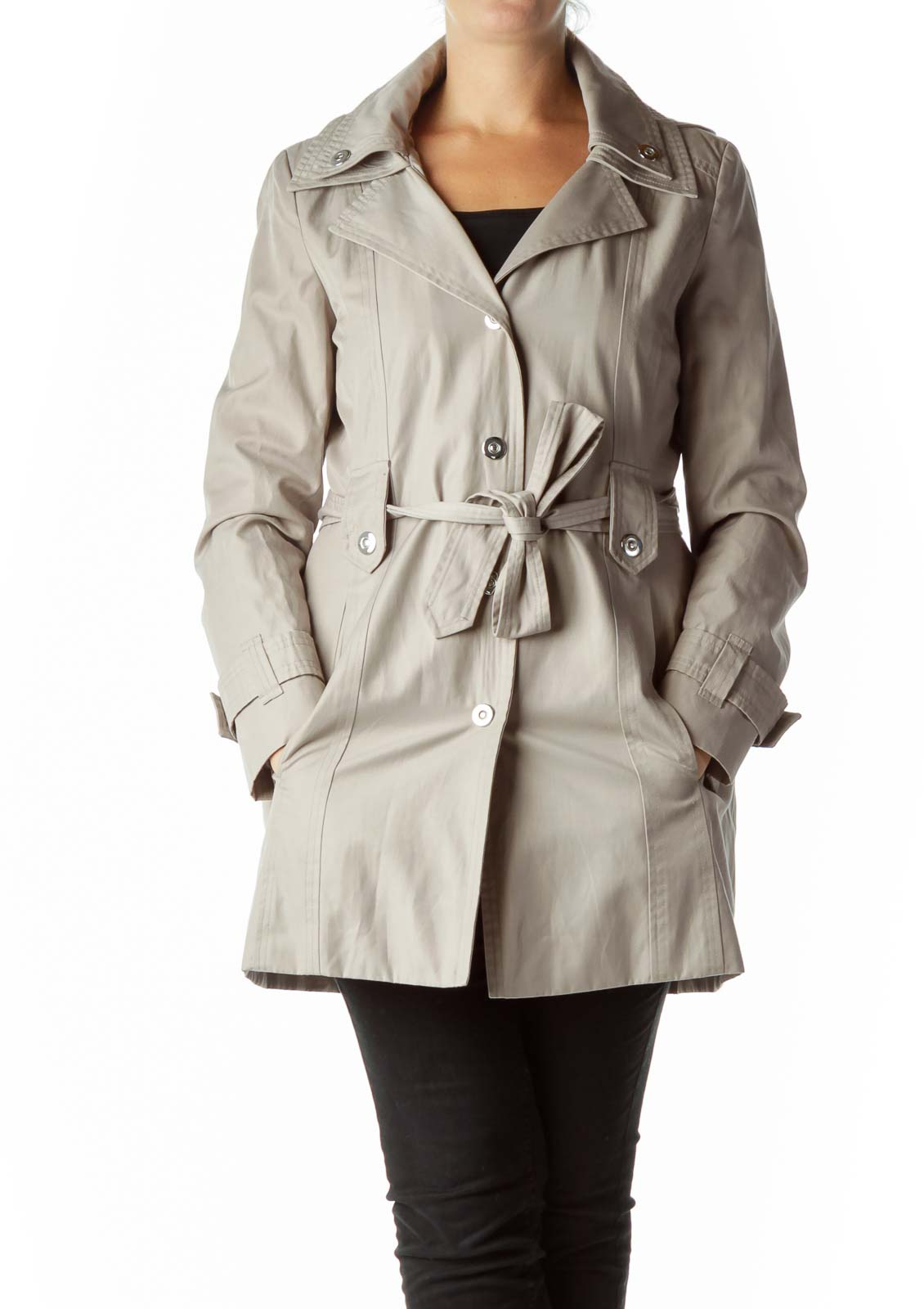 Beige Trench Coat with Hood