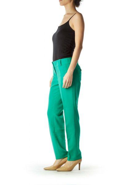 Green Skinny Leg Slacks