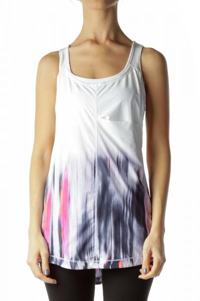 White Print Yoga Top with Built-In Bra