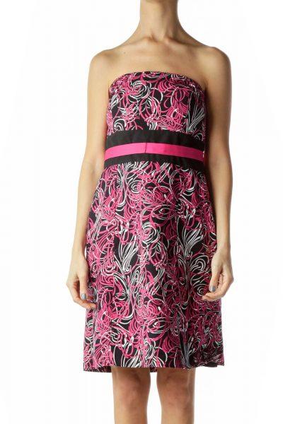 Pink Black Print Strapless Dress