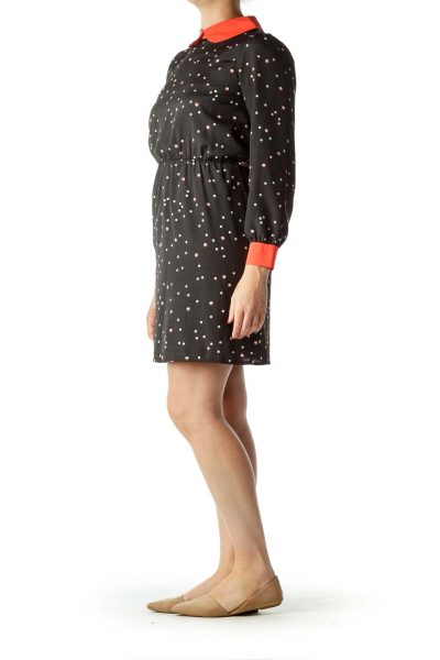 Black Polka-Dot Collared A-Line Dress