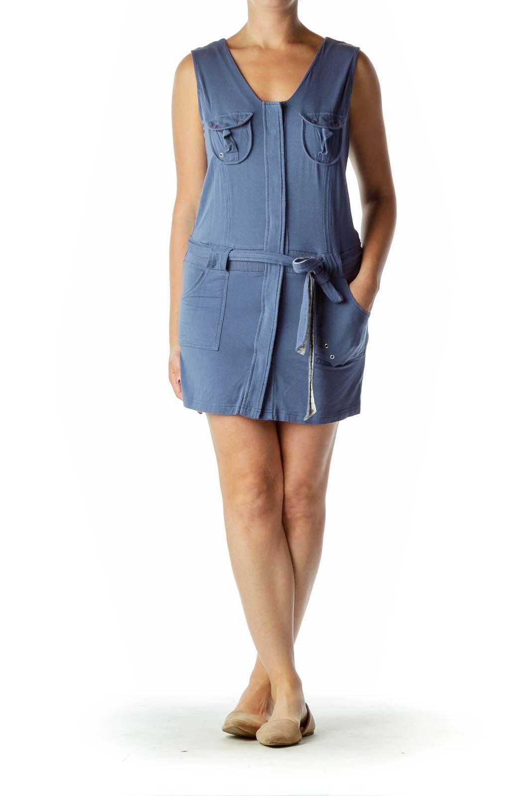 Blue Pocketed Jersey Dress