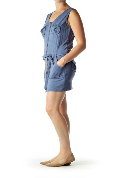 Blue Pocketed Jersey Dress