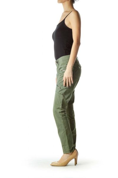 Green Skinny Cargo Pant with Zipper Detail