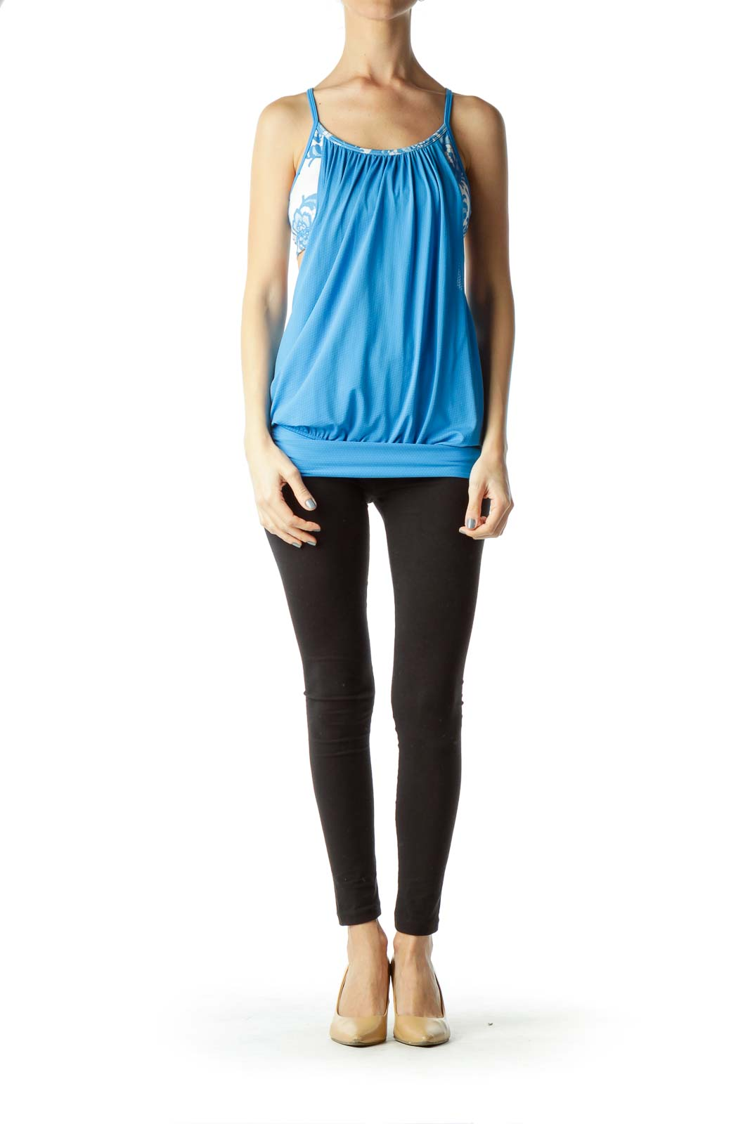 Blue Yoga Top with Printed Built-In Bra