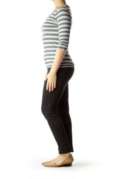 Gray Tonal Stripe 3/4 Sleeve Top
