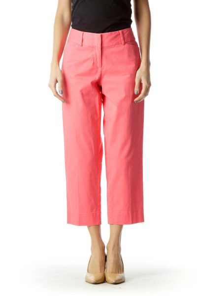 Pink Straight-Leg Cropped Pants