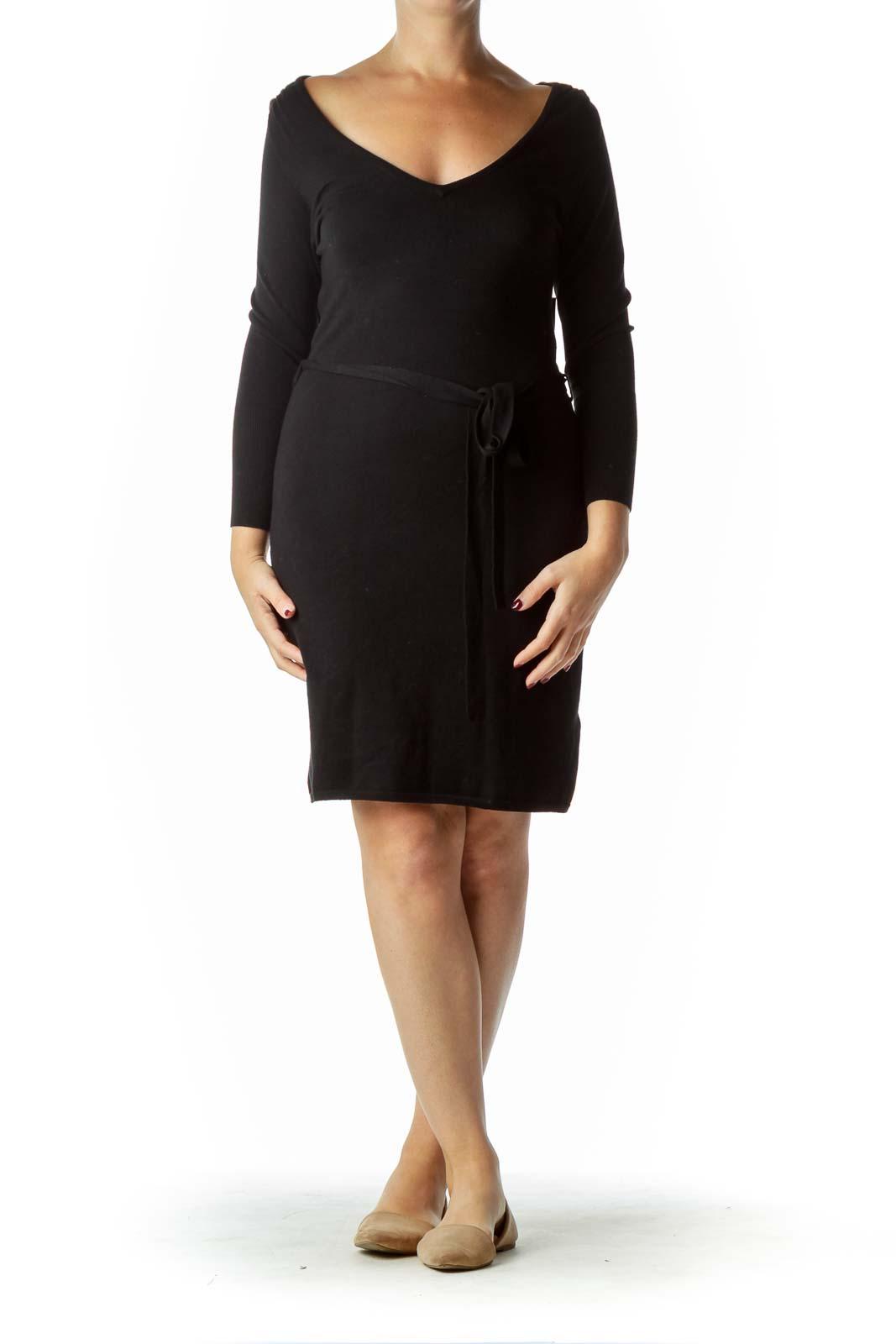 Black Long Sleeve Knit Dress